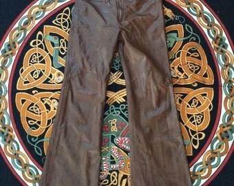 "Fantastic Brown Leather Bellbottoms 31"" Waist"