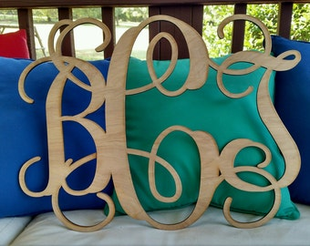 Monogram Initials / Wood Monogram / Wedding Monogram / Nursey Decor / Laser / Wall Monogram / Wreath Initials / unfinished wood letters