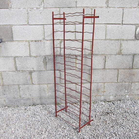 Metal Wine Bottle Rack Red Kitchen Storage Mid Century Original French 1960s Rigidex