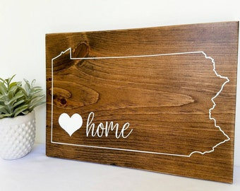 Large Pittsburgh Pennsylvania Love Home Sign, Pittsburgh Wall Art, Pennsylvania State Outline, Wooden Pittsburgh Home Sign