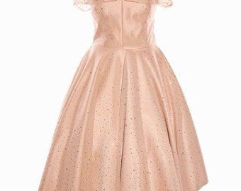 Beautiful 1950's champagne dress, made to measure