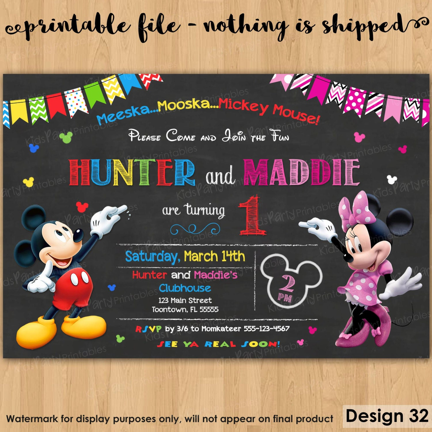 Mickey and Minnie Invitation PRINTABLE Mickey and Minnie – Twin 1st Birthday Invitations