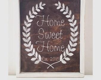 Home Sweet Home Established Wood Sign