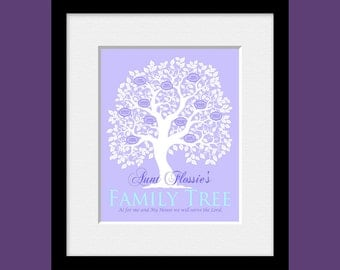 Aunt Gift, Personalized Family Tree for Aunt, Tree with Names and Birthdates, Family Tree, Anniversary Gift, Birthday Gift, Christmas Gift
