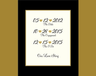 "One Year Anniversary Gift, Paper Anniversary Gift, ""Our Love Story"" Timeline, Special Dates Print, Important Dates Poster"