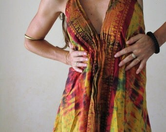 Dress was short ethnic cotton tie dye red and yellow, V Halter neckline