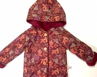 Girls Clothing - Girls back to school Coat - Girls fully lined Coat - Girls Woodland Animal Print Coat - Girls School Coat - Mouse