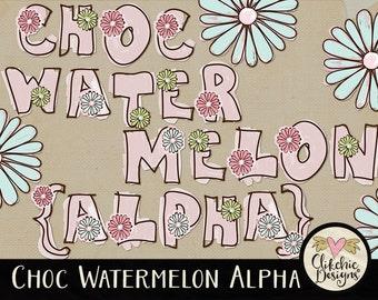 Floral Alpha - Digital Scrapbook Alpha Clip Art - Floral Doodle Alphabet, Doodled Scrapbook Alphabet ClipArt, Digital Letters, Digital Alpha