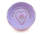 Hand Painted Trinket Dish, Inspirational Dish, Teal Trinket Dish, Flower Trinket Dish - LOVE BLOOMS