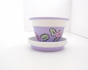 Hand Painted Clay Pot, Plant Pot, Painted Flower Pot, Painted Garden Pot, Indoor Pot, Outdoor Planter, Terra Cotta Pot - SWEET LILAC