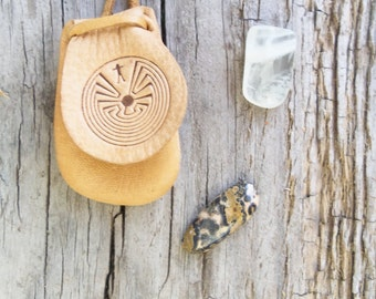 Man in The Maze - Sacred Leather Totem Bag - Leather Pendant
