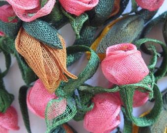 24 Napkin Rings/Netted Flower serviette holders