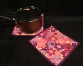 Purple Floral Quilted, Insulated Pot Holder Set