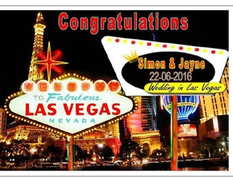 Las Vegas Wedding day personalised with Names & Date ... UNIQUE