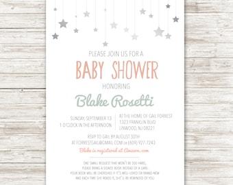 Falling stars baby shower invitation