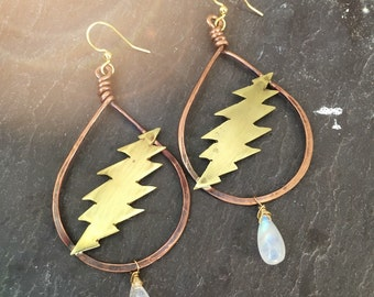 Grateful Dead Bolt earrings / 13 points / moonstone / hoop handmade jewelry / jerry garcia