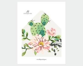 A7 envelope liner | cactus and succulent insert (DP130)