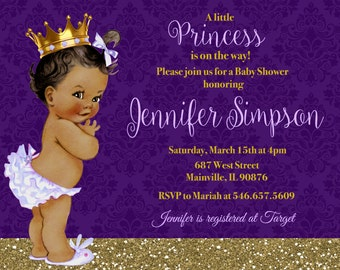 Princess Baby Shower Invitation, Purple, Lavender, Gold, Glitter, Sparkle- Printable or Printed with FREE SHIPPING