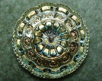 Czech Glass Button 27mm - hand painted - gold, AB (B27308)
