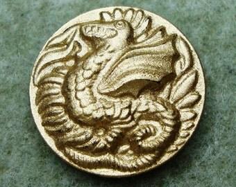 Czech Glass Button 23mm - hand painted dragon - gold (B23210)