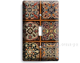 Tuscan Ornament Italian Tile Pattern Print Single Light Switch Wall Plate Cover Bedroom Dining Tv