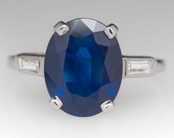 Sapphire Engagement Ring - Blue Sapphire Ring - Vintage Sapphire Ring - 3.9 Carat Oval - Platinum w/ Diamond Baguettes - WM11293