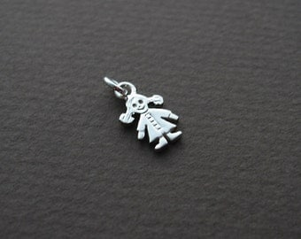 Girl charm, sterling silver charm, little girl, child, mothers necklace, child charm, charm necklace, daughter charm