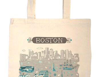 Boston Tote Bag-City Tote-City Bag-Boston-Any City Tote-Blue-Grey--Personalized-Custom