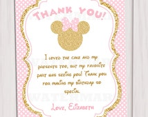 Pink and Gold Minnie Mouse Birthday Party Thank you card, Thank you note, Gold Glitter, Polka Dot invite, Girl, Printable invitation