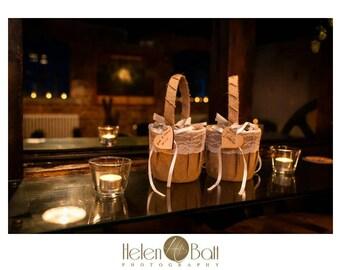 2x Burlap/Hessian flower girl baskets