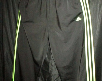 Adidas Jogging Pants Black w/ Neon Green Stripes Women's M