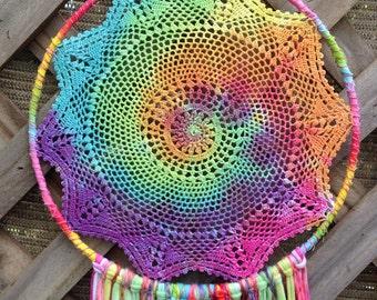Pastel Rainbow Tie Dye Vintage Crochet Doily Dream Catcher