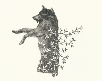 Wolf with Branches