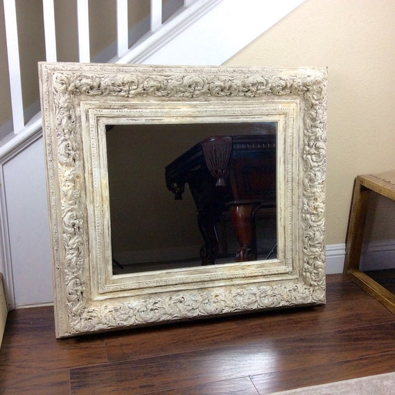Large white mirror ornate mirror vanity mirror by shabbyshores for Large white mirror