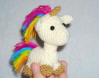 Amigurumi unicorn white pink Kawaii toy unicorn crochet plush stuffed unicorn toy animal  miniature unicorn toy wedding gift Fathers day