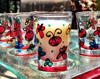 Hand painted shot glasses, Red Ladybug shot glasses