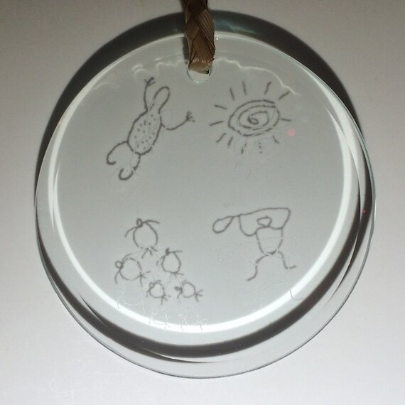 Stained Glass Hawaiian Engraved Petroglyph Round Bevel Inspirational Sun Catchers Made in Hawaii Deesigns By Harris Free Gift Wrap