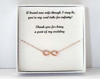 Bridesmaid gift, Rose gold Infinity necklace, Infinity necklace, Rose gold necklace, Rose gold jewelry, Infinity jewelry, Bridesmaid gift