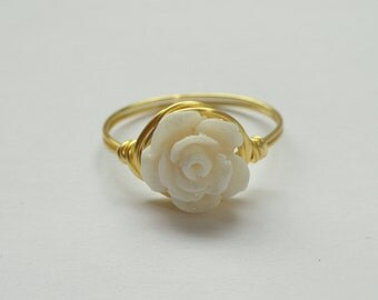 White Rose ring, Yellow gold rose wire ring, Rose ring, Flower ring, White flower ring, Flower girl gift