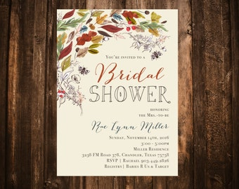 Fall Foliage & Florals Bridal Shower Invitation; Printable or set of 10
