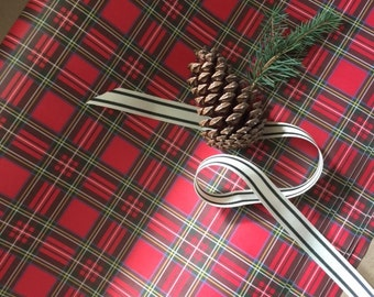 Red Plaid Tartan Holiday Wallpaper, 20 x 29 sheet, set of 5 sheets, 70# Opaque