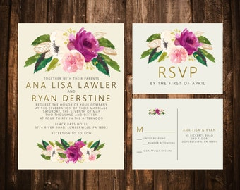 Fuchsia & Blush Floral Wedding Invitations; Watercolor; Printable OR set of 25