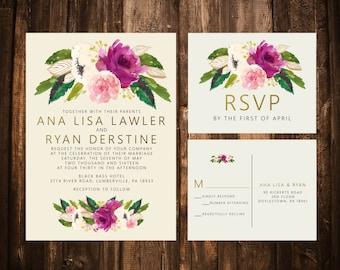Fuchsia & Blush Floral Wedding Invitation Suite; Printable