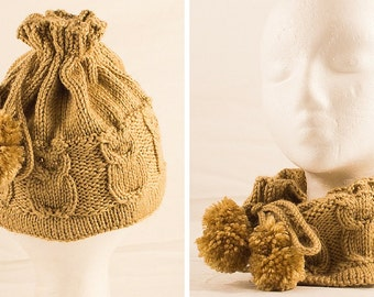 Wheat cOwl Hat - Convertible Owl Hat and Cowl