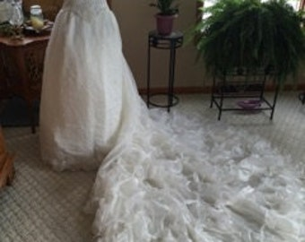 Glimmering Organza Wedding Gown with Ruffles, Size 14