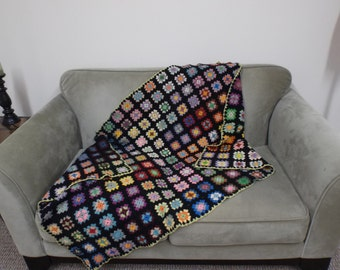 Vintage Hand Crocheted Worsted Wool Granny Square Lap Throw