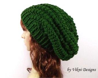 Green Crochet Hat, Crochet Womens Slouchy Hat Beanie, Womens Knit Beanie, Winter Hat by Vikni Designs