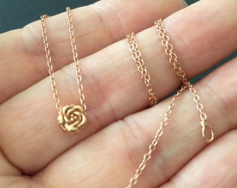 Rose Gold plated Over Sterling Silver Rose necklace, Sterling silver simple rose charm necklace, bridesmaid flower necklace / Silver pendant