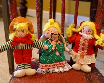 Trio of Christmas Ornaments, Two Blonde Girls, One Blonde Angel, 1980s