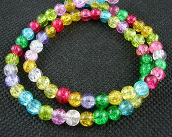 Crackle Glass Beads, Mixed Colors - 6mm Round - 16 inch Strand #050